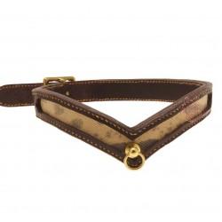 Collier Echidna - NYMAERIA - Collier de ville en cuir français brun et insert serpent naturel.